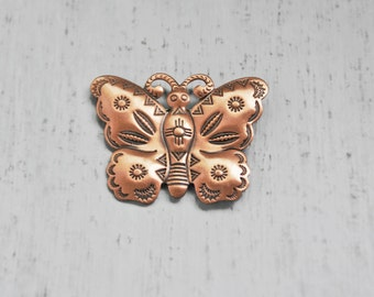 SALE! Vintage Copper Butterfly Brooch - southwestern style stamped metal pin