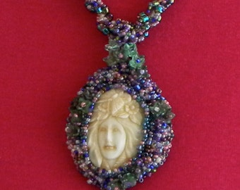 Carved Face Beaded Pendant and Necklace