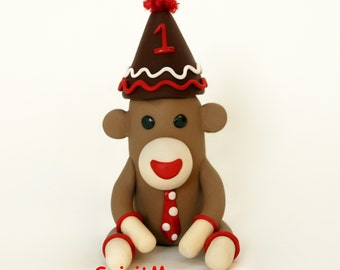 Sock Monkey Birthday Cake Topper 3.5 inch Fondant Style (polymer clay) with Party Hat