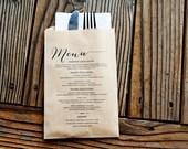 Wedding Favor Menu Bag - Classic Brown Bag - Kraft Menu Table Setting -  Wedding Candy or Silverware Bag with Menu -  25 Favor Bags