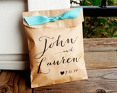 Wedding Favor Bags - Personalized Wedding Favor Bag - Country Calligraphy Names - Great Candy Buffet Bag - Flat Kraft Bags - 20 pack