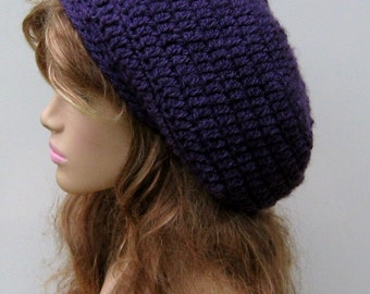 Slouchy Beanie Violet purple slouch hat small tam crochet warm