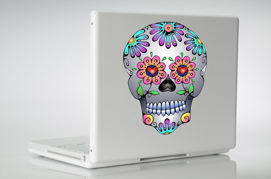 Sugar Skull Vinyl Decal Sticker Day Of The Dead Flower Mexican