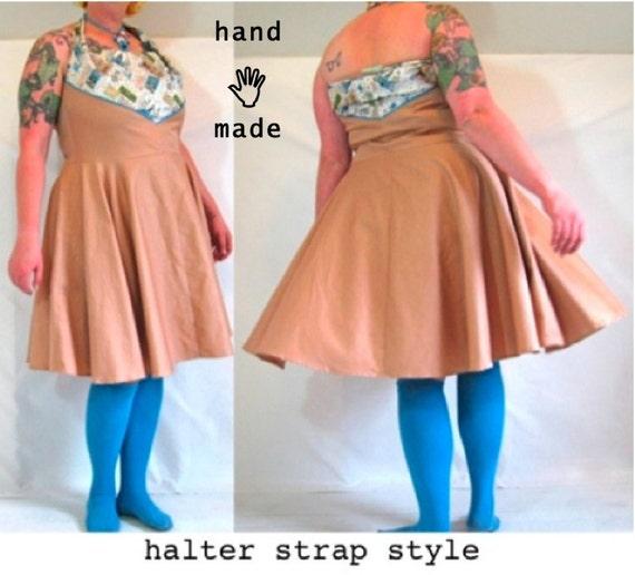 SALE - Convertible Dress - plus size 20 / 22 - sundress, halter, strapless - newly handmade in vintage cotton fabrics -- 47B-42W-80H