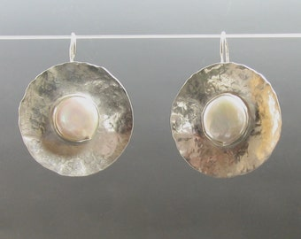 Pearl Earrings - FWP and silver, pearl and silver, hammered silver, silver FWP earrings, wedding jewelry, wedding earrings, bridal, bride