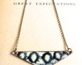 Black and Cream Enamel Necklace- Reversible