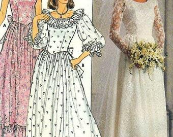 Butterick 3064 Bridal Gown Wedding Party Dresses Detachable Train Vintage 1985 CHOICE Size 12 or 14