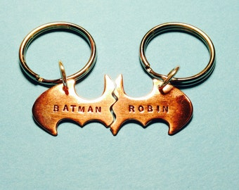 Batman Best Friend Keychains smaller key chain, Personalized Friendship Copper BFF