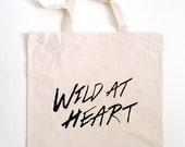 no. 543 - wild at heart screen printed canvas tote bag