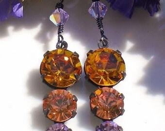 Austrian Czech Swarovski Crystals Earrings Vintage Topaz Peach Amethyst w Lt Amethyst Crystals