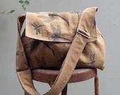 Reserved: Medium Messenger Bag - Dragonflies - Adjustable Strap - Pockets - Key Fob