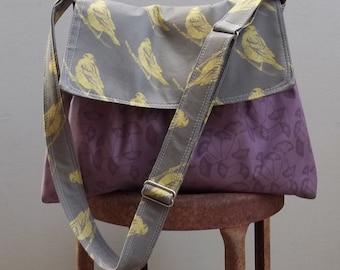 Olive Purple Messenger Bag - Ginko Leaves - Adjustable Strap - 3 pockets