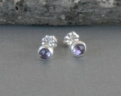 Amethyst Studs, Amethyst post Earrings, Light Amethyst Studs, February Birthstone Earrings, Bezel Set Amethst Earrings