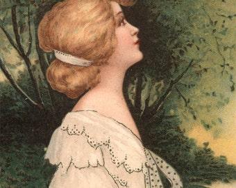 Vintage postcard German Beautiful LAdy Illustration 1909