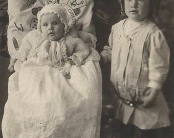 vintage photo Clifford & Clayton Lowed Sweet Boys Baby Quilt Folk Pillow RPPC