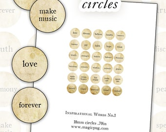 Inspirational Words No. 1 digital collage sheet 18mm  rounds .70 in circle sepia natural
