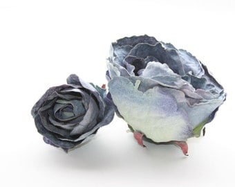Clearance: 2 Vintage Inspired Shabby Chic Roses in Antique Blue  - ITEM 0461