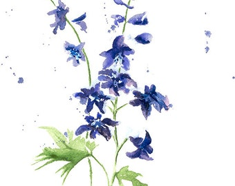 Delphinium Print From Original Watercolor, Spring Botanical Print Wall Art Home Decor, Blue Flower Wall Decor Art Print, Flower Art Print