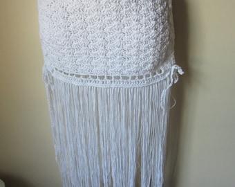 FRINGE SKIRT, White, Crochet skirt, hip belt,  festival clothing, gypsy, tribal dancing, belly dancing, overlay skirt