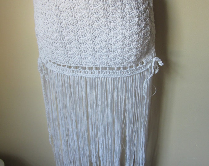 FRINGE SKIRT, White, Crochet skirt, hip belt,  festival clothing, gypsy, tribal dancing, belly dancing, overlay skirt