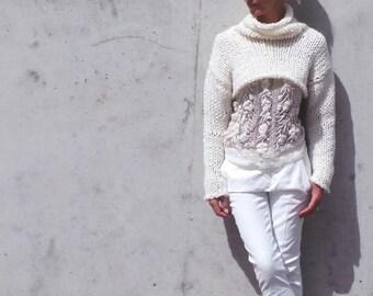 Ivory white chunky sweater, cropped sweater, shrug iLE AiYE knitwear