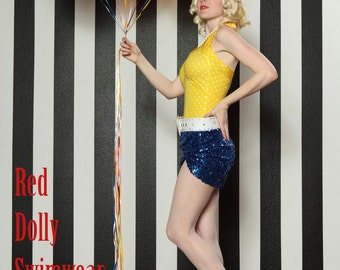 The Bella Yellow and White Polka dot one piece Maillot Swimsuit made to Order