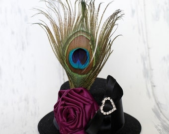 Royal Party - Black Mini Top Hat Peacock and Purple Rosette - Perfect Photo Prop, Toddler Hat, Baby Hat, Girls Hat, Photography Prop
