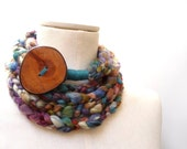 Loop Infinity Scarf Necklace, Crochet Scarflette Neckwarmer - Green, Purple, Blue, Brown multicolor yarn with giant wood button