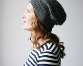 Slouchy beanie, dark grey merino wool knit hat -- Ledge Harbour slouch