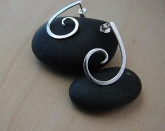 Sterling Silver Curls Post Earrings Curly Stud Earrings
