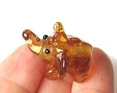 Lampwork Glass Handmade elephant bead transparent orange
