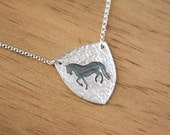 Prancing Horse Necklace Medium Shield Pendant Dressage Piaffe Andalusian horse equestrian handmade fine silver pendant on sterling chain