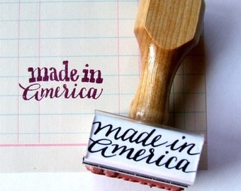 Made in America Stamp, Made in the USA Rubber Stamp, American Made, Handmade Calligraphy, Shop Packaging Stamp, United States Stamp,