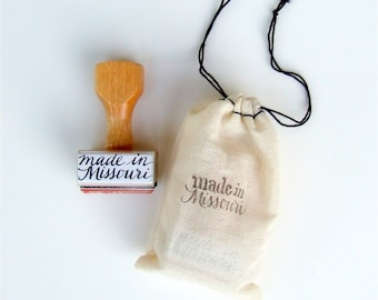 """made in Missouri rubber stamp, made in America """"calligraphy"""" stamp, handmade wood handle stamp"""