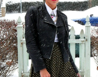 Vintage 1980s high waist pleated polka dots dotted skirt