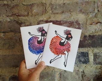 painted flapper letterpress card