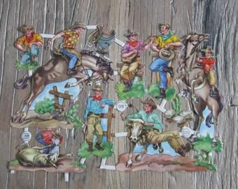 Vintage German Die Cut Cowboy Decoupage Scrapbook