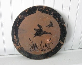 Copper Wall Plaque with Geese Cattails Black Stencilling