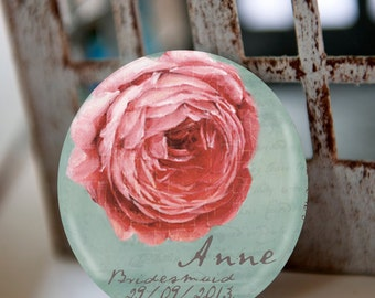 Pocket mirror, PEONY, wedding favors, bachelorette party, bridal shower favors, baptism favors, baby shower favors, personalized