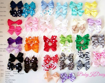 "Two Baby Hair Clips / Newborn Hair Clips / Itty Bitty Baby Bow Clips / Toddler Girls Simple YOU PICK 2.5"" Bow Clips 50 COLORS"