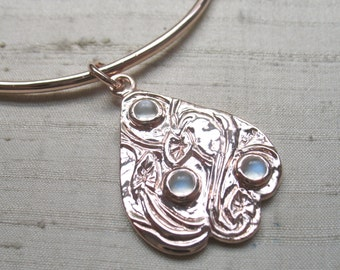 SALE Swan and Serpentine Leaf Bangle- Moonstones in Rose Gold Covered Pink Silver