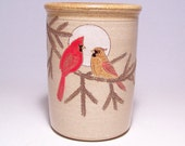 Cardinal Couple Pottery Utensil Holder and Vase Limited Series 39 (narrow)
