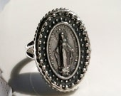 Religious Miraculous Medal Ring - Blessed Virgin Mary Ring - Sterling Silver Setting - Mary Mother of God Medal