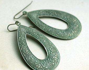 Mossy Green Tear Drop Earrings, Long Dangle Earrings, Green Metal Earrings, Lightweight Earrings