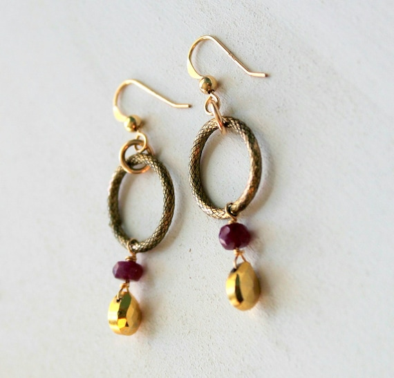 Antique Brass Hoops, Gold Pyrite Earrings, Pyrite Ruby Earrings, Minimalist Earrings, Minimalist Jewelry, Pyrite Jewelry, Everyday Earrings