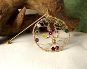 Gold Family Tree brooch pin -  birthstones - 14 Karat Gold fill Swarovski Crystals - Grandmother Christmas gift Grandma -Great - Mom in law