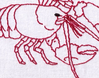 Lobster Hand Embroidery Pattern, Ocean, Crab, PDF
