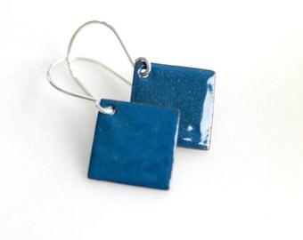 Geometric Jewelry, Diamond Earrings, Blue Earrings, Enameled Copper Earrings, Geometric Earrings, Rustic Earrings, Geo, Dangle