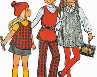 Vintage 1970s Girls U Shaped neckline Jumper, Tunic, Pants and Skirt Sewing Pattern Simplicity 5165 70s Vintage Sewing Pattern  Size 4
