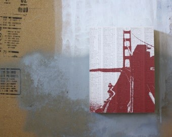 Golden Gate Bridge Print - San Francisco Artwork - Mounted Book Page Print - Red Golden Gate Bridge Art Print